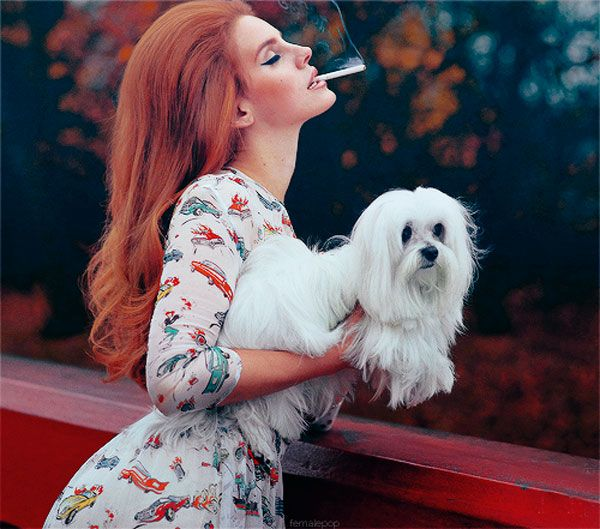 Lana Del Rey + pooch. I'm not a fan of smoking (especially in front of your pup.. ew! But I do think this shot is gorgeous)