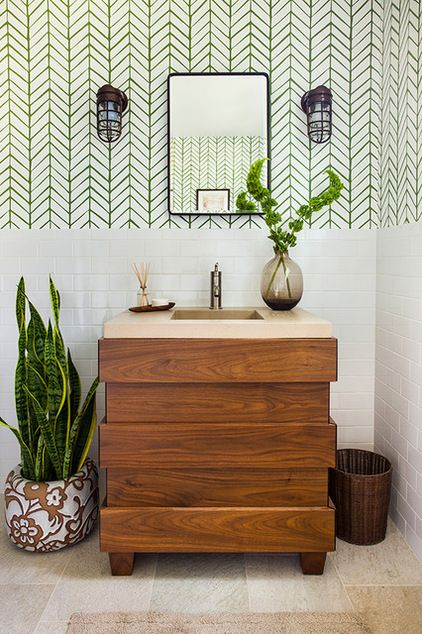 Transitional Bathroom by beth kooby design.  beth kooby design / Snake plant. Also known as mother-in-law's tongue, snake plants are sturdy, easy-to-care-for plants that can thrive in low light and need watering only every two weeks or so. If you've been having trouble keeping any plant alive in your bathroom, this could be the plant for you.