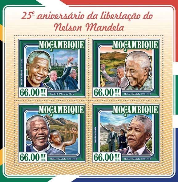 Post stamp Mozambique MOZ 15120 a25th anniversary of the liberation of Nelson Mandela (1918–2013. Frederik Willem de Klerk, {…}, Winnie Mandela)