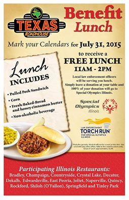 Join us for a FREE lunch to benefit the Special Olympics at Texas Roadhouse - Naperville, IL! #KentsDeals