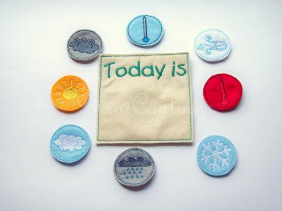 Felt Weather Chart EcoFriendly Learning toy by MiniContour on Etsy, $12.50 NICE IDEA