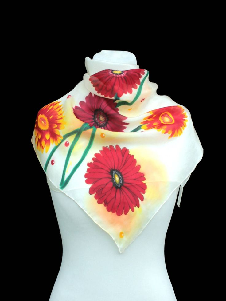 Hand painted silk scarf-Red flowers, gerbera,daisy,Painting,Hand painted flower,Painted scarf, silk scarf, gift for her,made to order by Aryonelle on Etsy