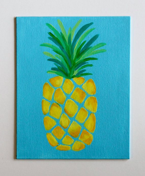handmade acrylic pineapple painting on 8x10 canvas board canvas is ready to be framed in