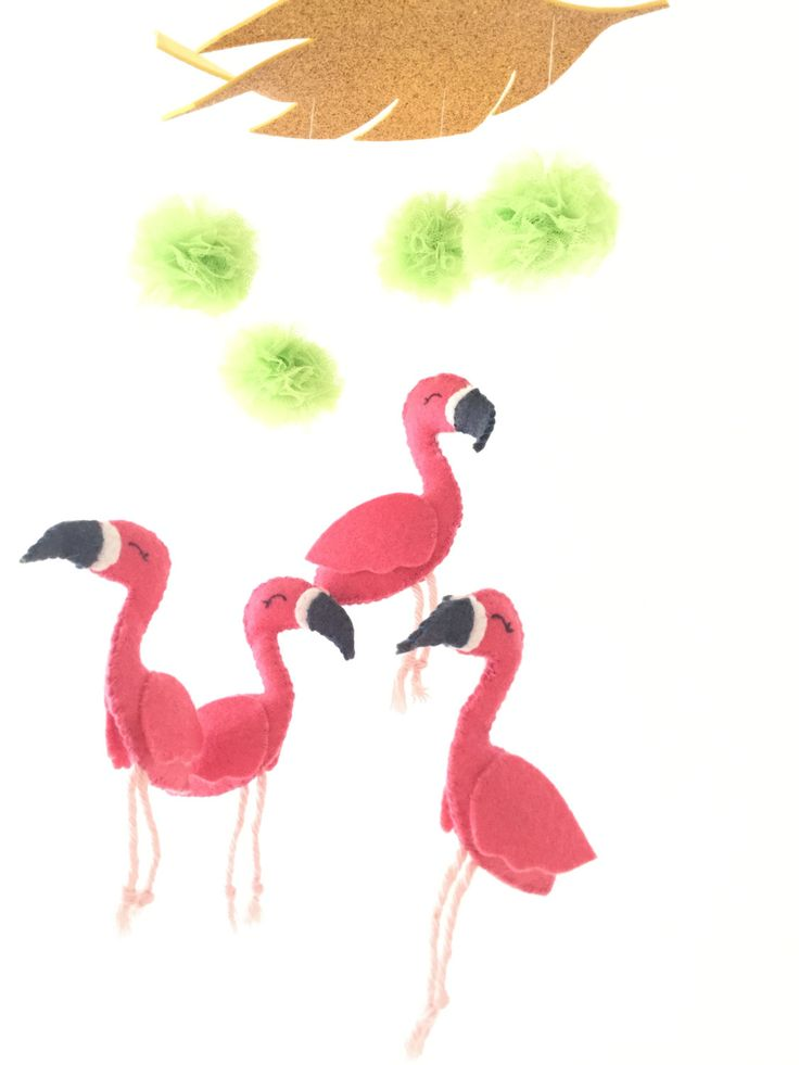 Flamingo nursery mobile, baby mobile, felt flamingos, tulle pompoms, gold tropical leaf, by TadiDesigns on Etsy