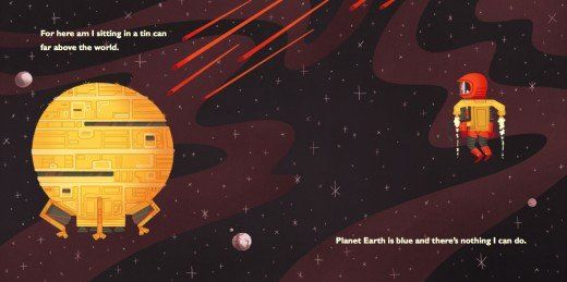 """Really great retro illustrations of David Bowie's """"Space Oddity"""" by Andrew Kolb"""