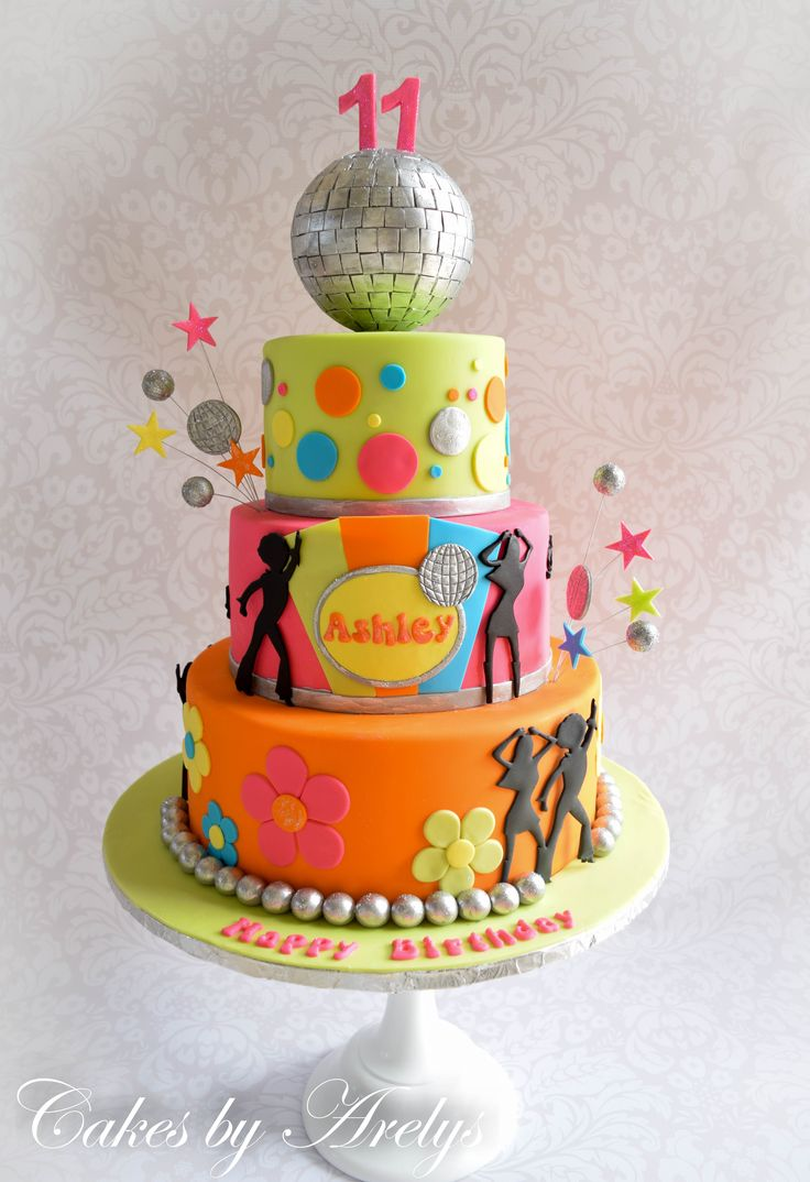Disco ball - dance fondant cake                              …