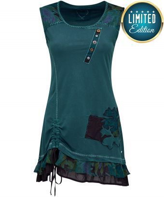 """This one's a Joe Browns favourite. The deep teal was inspired by the hot springs in the Costa Rican jungle. We've added appliqué embroidery and contrast print details. Dress it up for the party season or team it with a blazer for a casual office look. Approx Length: 82cm Our model is: 5'7"""""""