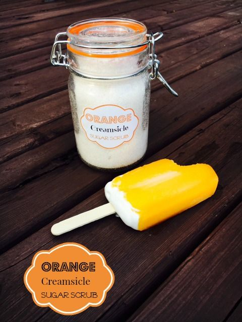 This Orange Creamsicle Coconut Oil Sugar Scrub is delightful! It will bring you back to hot summers and sticky ice cream!