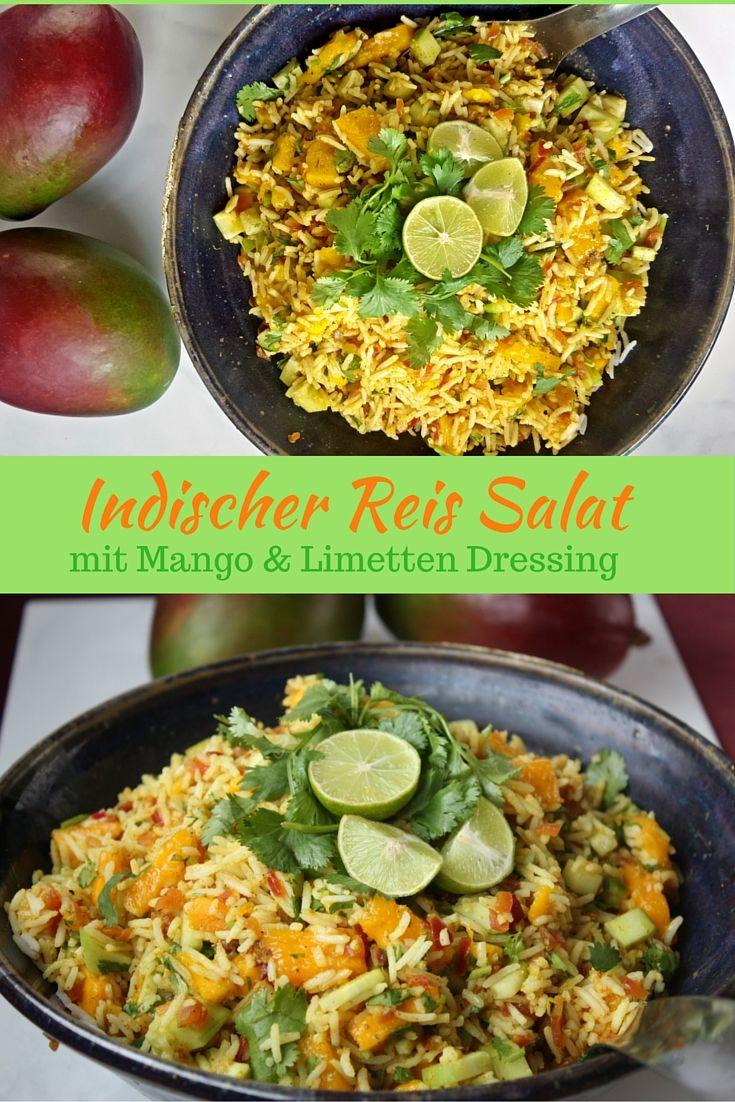 Indischer Reis Salat mit Mango, Gurken und erfrischendem Limetten Dressing