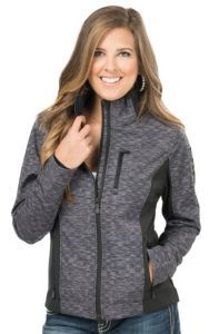 Cinch Women's Printed Heather with Black Accents Bonded Softshell Jacket | Cavender's