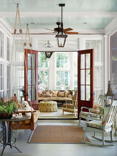 southern porch, blue ceiling, lantern, french doors
