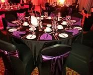 Black and Plum Purple sating sashes with Matching table runners and napkins