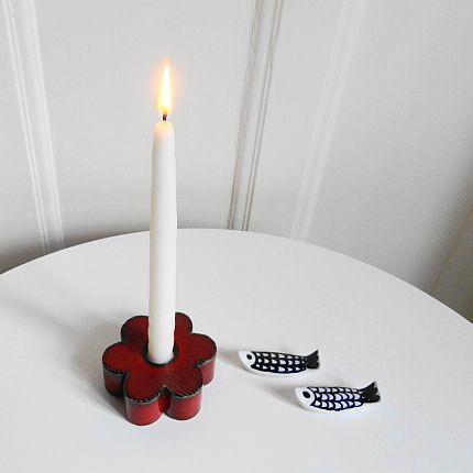 Lisa Larson 赤い花型キャンドルホルダー & GOG 魚型のバターナイフ置き : 北欧ヴィンテージ.あ!いいって!む!アイテムたち