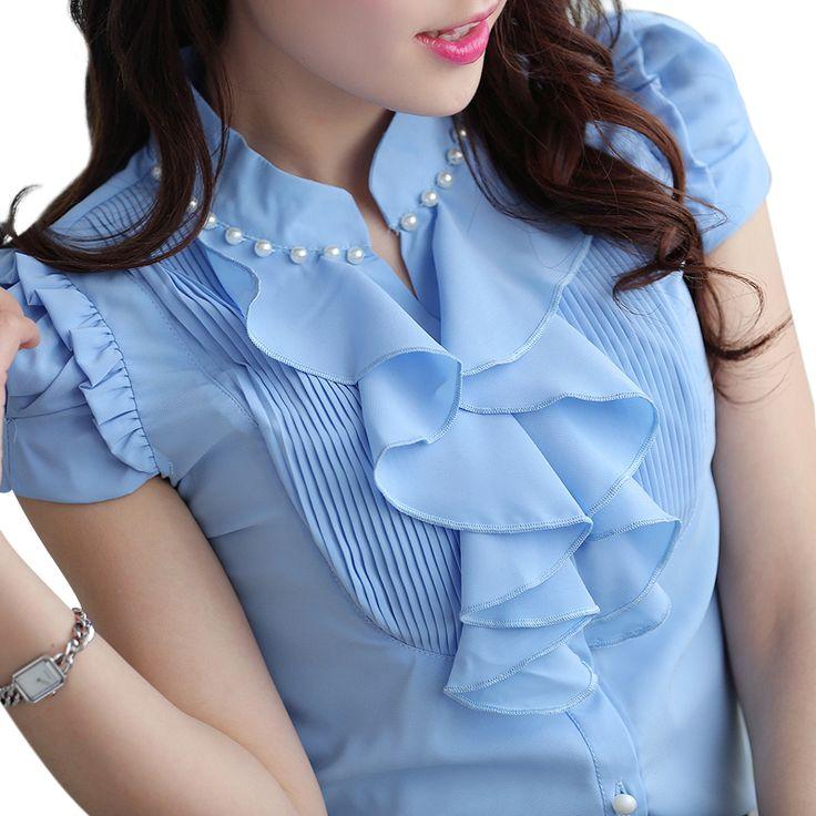 Mulheres moda vestuário Curto-manga Com Decote Em V camisa chiffon fino OL 2015 verão top feminino elegante Beading Ruffles blusa mais tamanho Loja Online | aliexpress móvel