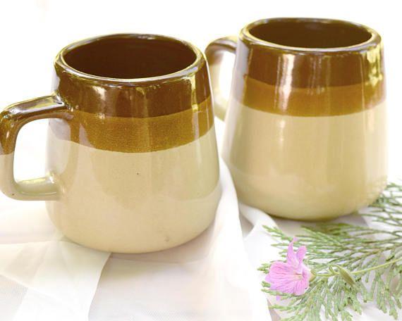 Stoneware Mugs Brown Crockery Coffee Cups Ceramic