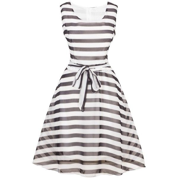Vintage Tie Waist Striped Dress ($18) ❤ liked on Polyvore featuring dresses, white day dress, white stripe dress, white striped dress, vintage dresses and tie waist dress