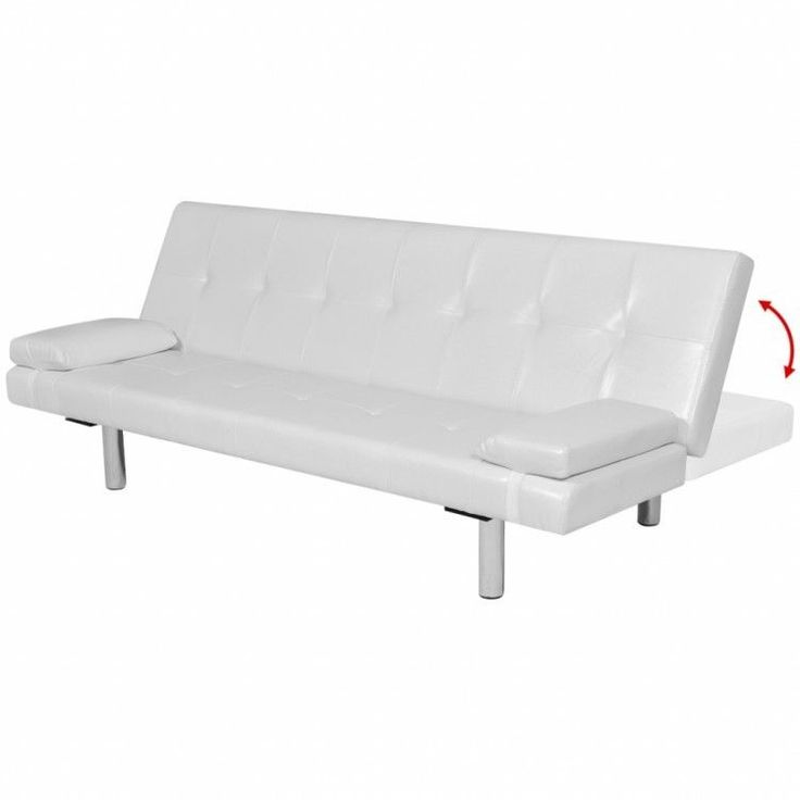 White Sofa Bed Set Faux Leather Adjustable Sleeper Couch Furniture Pillows SALE