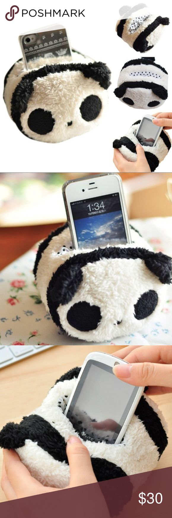 """JUST IN! NEW! 🐼 Panda Plush Cell Phone Holder Super Cute 🐼 Panda Plush Cell Phone Holder & Stand. Cute design, soft & fluffy, and protects your phone! Put on table, bed, or any other place as decoration. Makes a perfect gift! 100% Brand New & Good Quality. BUNDLE & SAVE!  Approx. Size: 12*11.5*8.5cm/ 4.7""""*4.5""""*3.3""""  Fits Phone Size: Phone width max to 7cm, most of latest phones are available, such as: Samsung S4, iPhone 6s, LG Nexus 5, HTC Desire 500, BlackBerry Z30, etc. Accessories"""