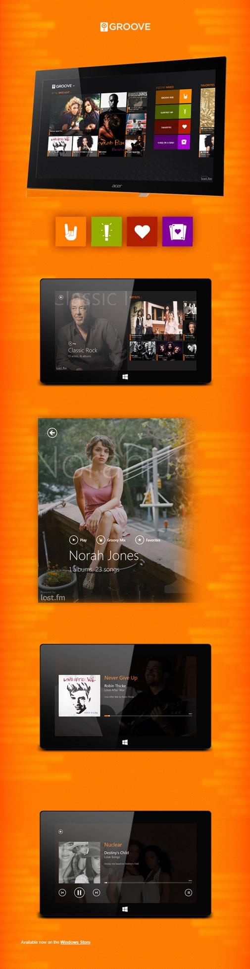 Design poster win8 - Groove App Windows 8 Metro Ui Design Smart Music App