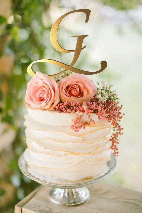 Hochzeitstorte Topper Buchstabe G personalisierte Cake Topper G Gold Monogramm Kuchen toppe …   – Yummy