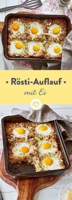 Wieso mit kleinen Talern vergnügen, wenn du einen ganzen Auflauf der Kartoffelspezialität haben kannst? Speck und Eier dürfen auch noch mit rein - perfekt.