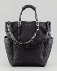Jimmy Choo Blaze Leather Tote Bag in Black