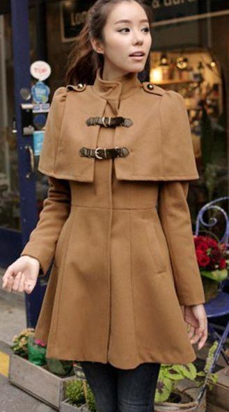 Elegant High Waist Cloak Pattern Flare Coat - Khaki                                                                                                                                                                                 More