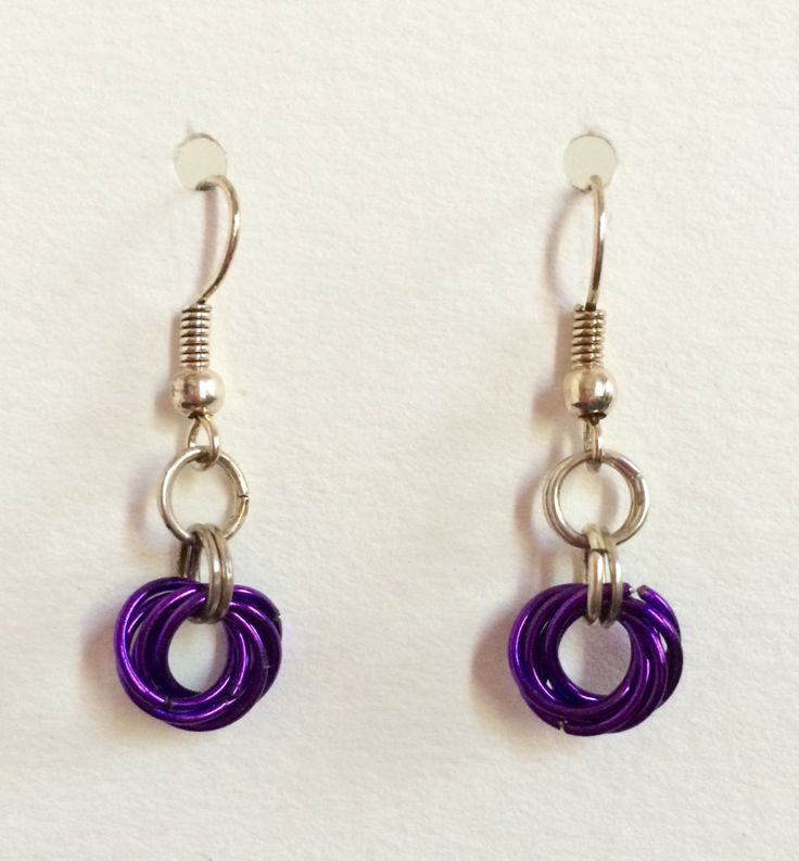Chainmaille Silver-tone with Amethyst Rosette Earrings - February Birthstone Color, Amethyst by littlerosecreations on Etsy