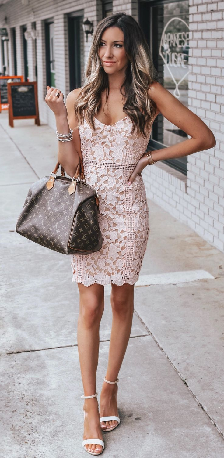white and brown floral sleeveless dress #spring #outfits