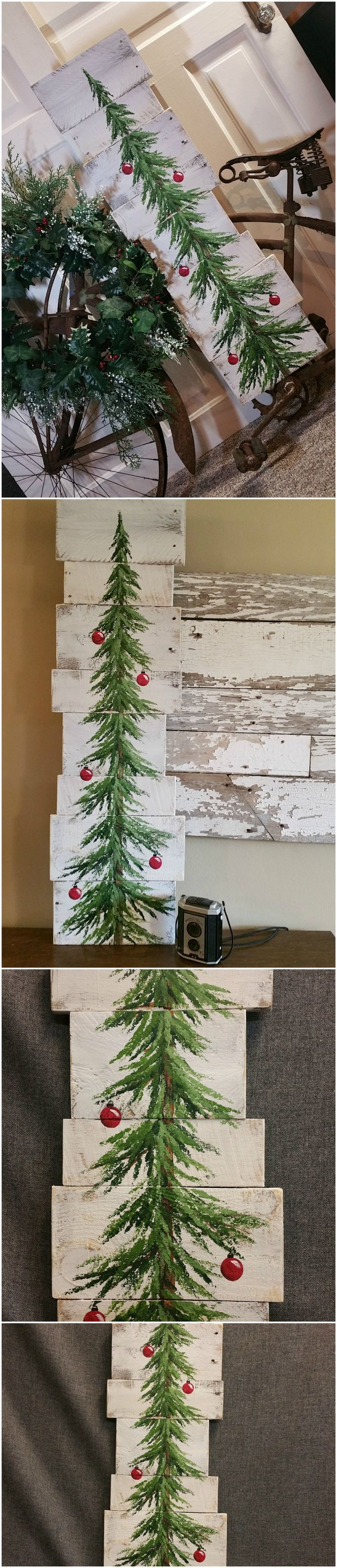 "White washed, Red bulbs, Christmas Pine tree Reclaimed Wood Pallet Art, Christmas Hand painted, upcycled, Wall art, Distressed  Original Acrylic painting on reclaimed Pallet boards. This unique piece is 36"" x apprx. 12""  This Christmas tree with red bulbs on a white-washed background is perfect for a personalized rustic touch to your Christmas decorating. Perfect for that skinny wall space or just lean it against the wall."