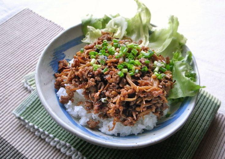 えのきと豚ひき肉のそぼろ丼 by moj [クックパッド] 簡単おいしいみんなのレシピが214万品