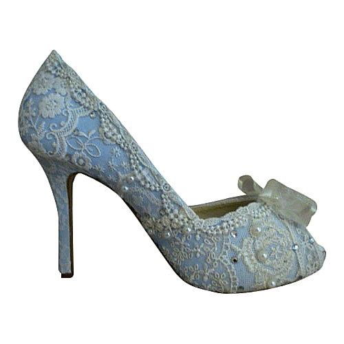 Something Blue bespoke Bridal Shoes ..lacey and sparkly with Swarovski crystals and faux pearls