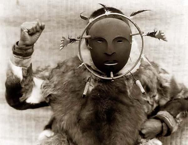 You are looking at a beautiful picture of an Eskimo Ceremonial Mask. It was created in 1929 by Edward S. Curtis.    The picture presents a nice image of this traditional Eskimo mask.    We have created this collection of illustrations primarily to serve as a valuable educational tool. Contact curator@old-picture.com.