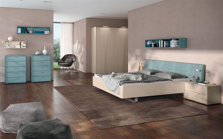Download wallpapers modern design, bedroom, spacious bedroom, minimalism, stylish interior