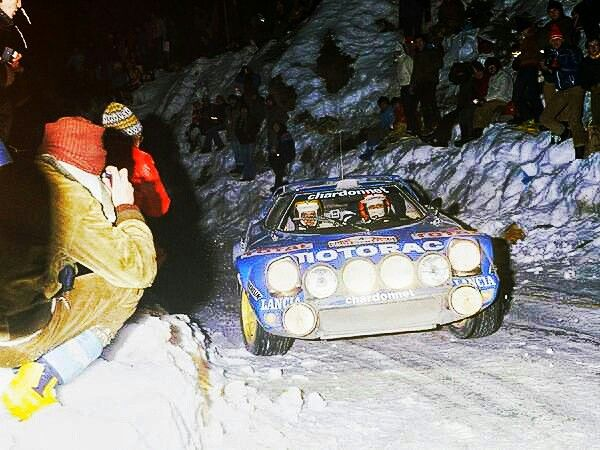 The 2018 Monte Carlo Rallye begins 25 January, so for this Monte retrospective we're back in 1979, because old rally cars are the best, particularly old Lancias. Here the sideways Stratos and faces of concentration belong to Bernard Darniche and Alain Mahe; they went on to win the Monte, ahead of Bjorn Waldegard's Escort RS1800 and Markku Alen's Fiat 131 Abarth. #WRC #RallyeMonteCarlo #LanciaStratos