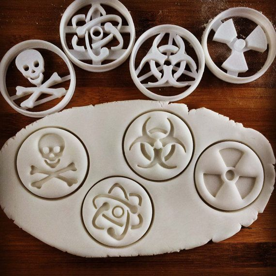 Toxic & other Science Symbols cookie cutters biscuits by Made3D