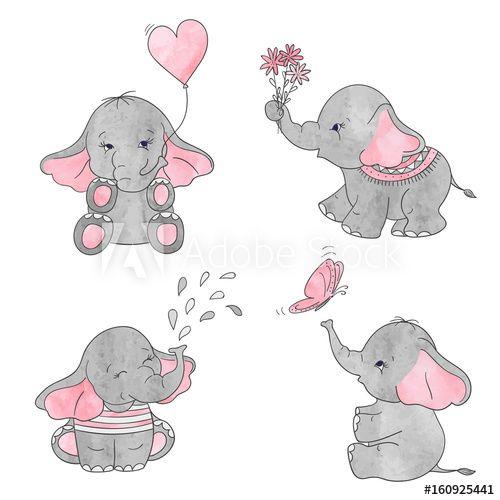 Set of cute cartoon baby elephants. Vector watercolor ...
