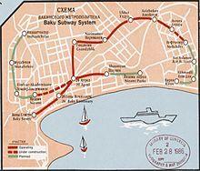 Baku Metro map in 1970