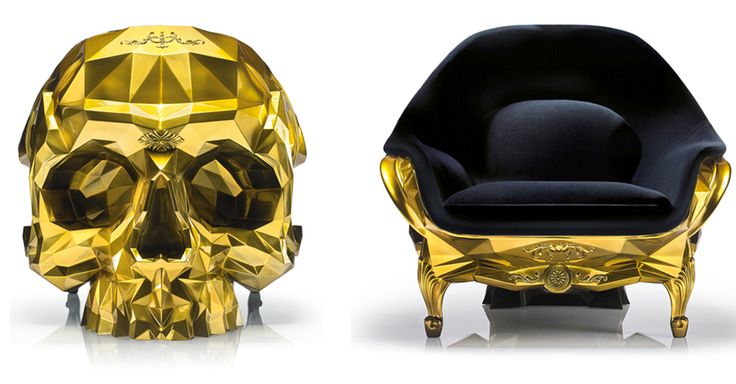 Grand schemes for world domination have to be hatched from somewhere, so why shouldn't it be this luxurious gold skull armchair?
