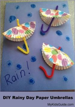 DIY Craft: Create some rainy day fun with this cute DIY paper umbrella craft for kids using supplies from around your home or easily found at the dollar store!