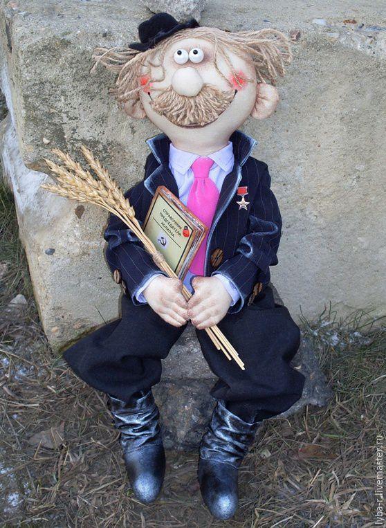 Купить Председатель колхоза - черный, ручная авторская работа, подарок, председатель колхоза, коллекционная кукла