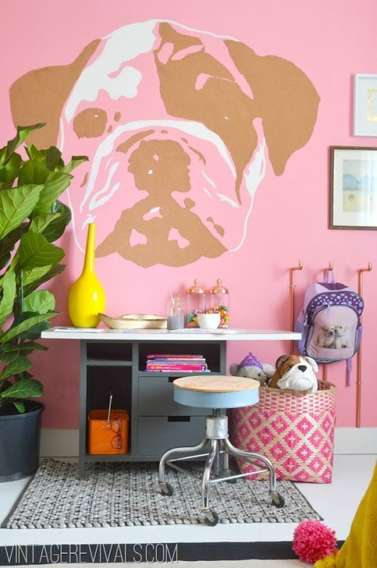 LOVE this doggie wall art - the brown is cork board for your child's inspiration @ Vintage Revivals