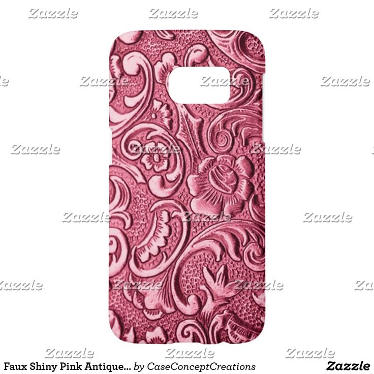 Motif floral baroque antique rose brillant de Faux Coque Samsung Galaxy S7