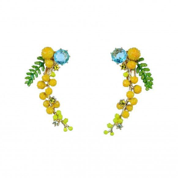 Boucles d'oreilles clip branche de mimosa et fougère
