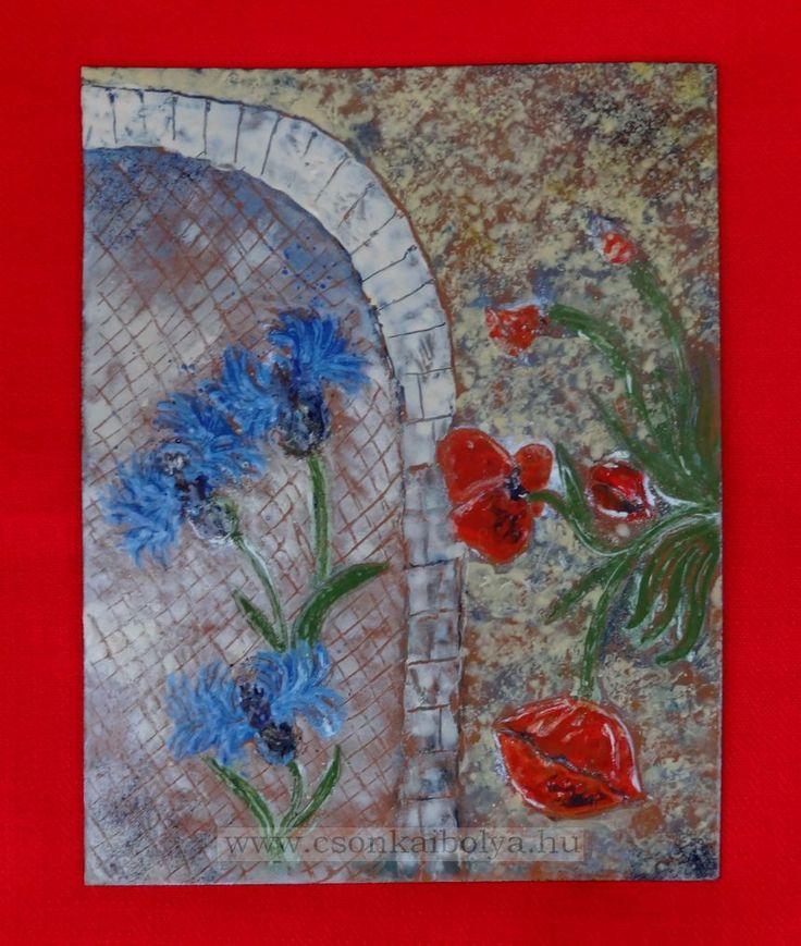 Téma: Búzavirág család / Cornflower family Technika: Tűzzománc Anyaga: Vaslemez, ékszerzománc Mérete: 23 x 29 cm