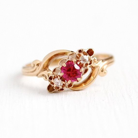 Sale Diamond Paste Ring Antique 10k Yellow Gold Created Etsy Ruby Engagement Ring Vintage Rings Jewelry Fashion Antique Rings