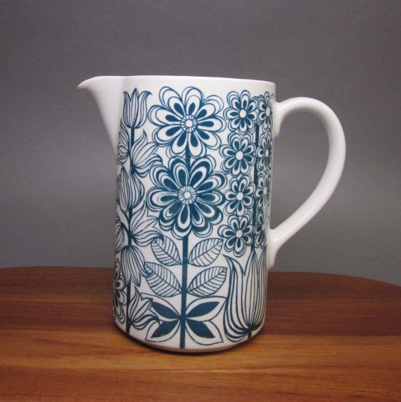 Arabia Finland Milk Jug  1960's  'Keto' Pattern by SwearToMod