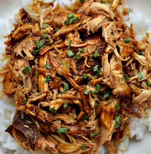 Slow Cooker Chicken Teriyaki. Serve over rice.  **Garnish with toasted sesame seeds and green onions, if desired.