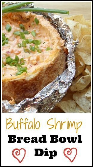 Buffalo Shrimp Bread Bowl Dip recipe, delicious and easy appetizer perfect for tailgating, football parties, or other events! snappygourmet.com