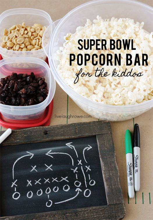 Super Bowl Popcorn Bar for the kiddos with livelaughrowe.com: Bowls Parties, Bar Livelaughrowe Com, Birthday Parties, Bar Superbowl, Super Bowls, Big Games, Appetizers, Bowls Popcorn, Birthday Ideas